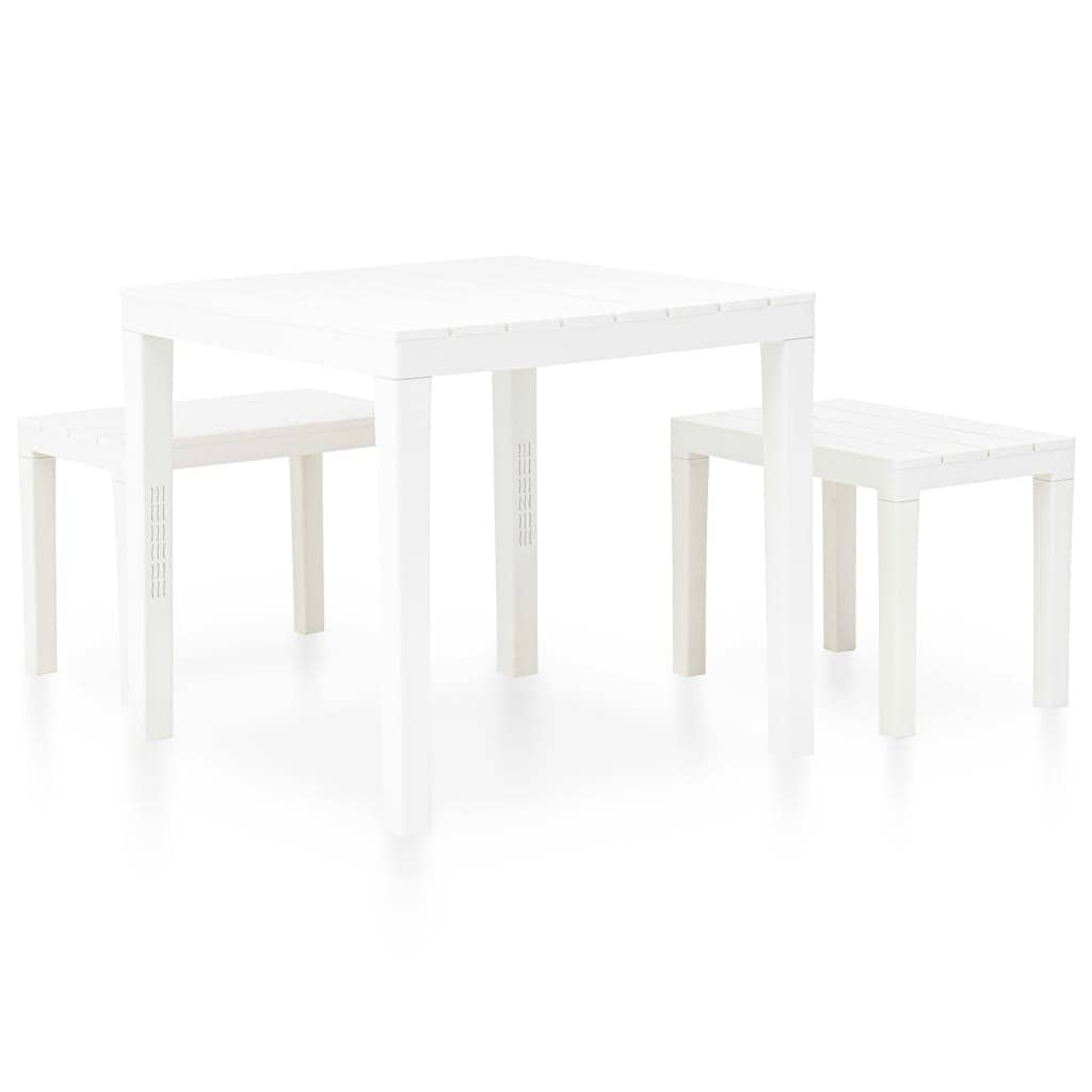 vidaXL Garden Table with 8 Benches Plastic White