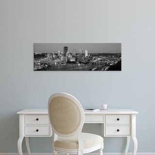 Easy Art Prints Panoramic Images's 'Night, Pittsburgh, Pennsylvania' Premium Canvas Art