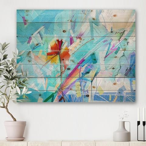 Designart 'Hand Brush Blue Flower On Turquoise Background' Farmhouse Print on Natural Pine Wood