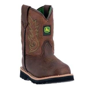 John Deere Western Boots Boys Kids Round Toe Dark Chestnut