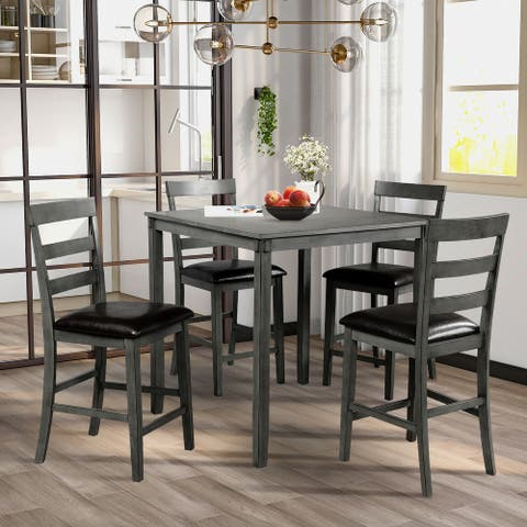 Nestfair Square Counter Height Wooden Dining Set with Table and 4 Chairs