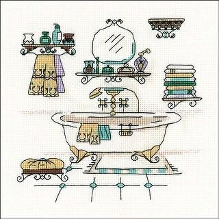 "Bathroom Interior (18 Count) - Riolis Counted Cross Stitch Kit 6""X6"""