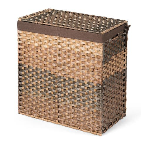 Laundry Hamper Hand-Woven Synthetic Rattan Laundry Basket