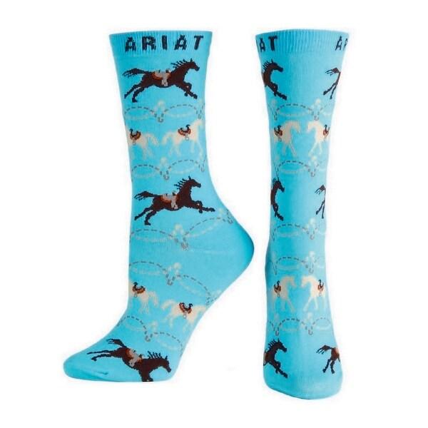 Ariat Socks Womens Western Ankle Saddled Up Horse Blue