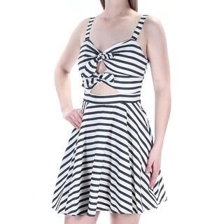 Womens Ivory Navy Striped Sleeveless Mini A-Line Dress Size: 5