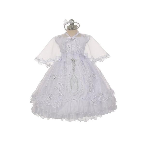 Rain Kids Little Girls White Virgin Mary Ruffles Organza Cape Baptism Dress 2-6