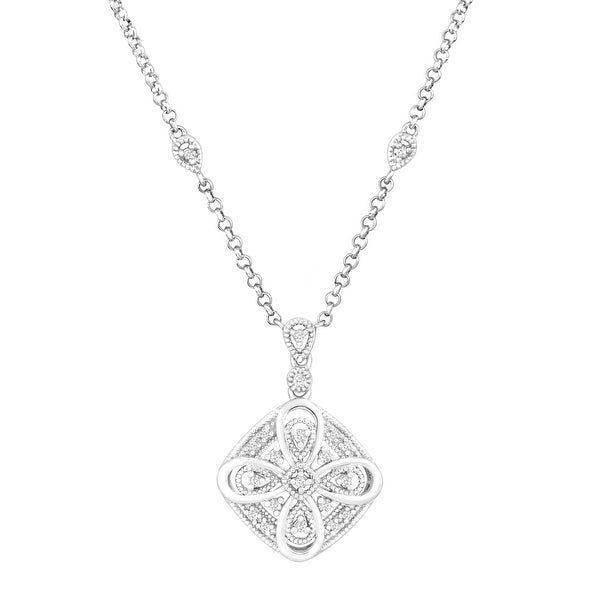 1/10 ct Diamond Filigree Necklace in Sterling Silver