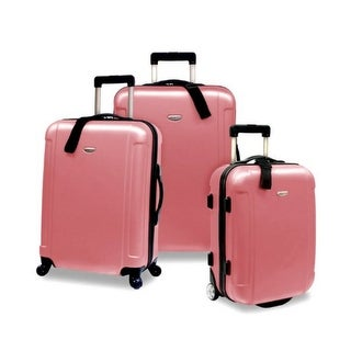 Travelers Choice Freedom 3 Piece Lightweight Hard-Shell Spinning Rolling Luggage Set - Dusty Rose