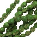 Dyed Magnesite Gemstone Beads, 6mm Mini Skulls 15 Strand, 1 Strand, Lime Green - Thumbnail 0