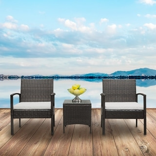 Amelia Patio Porch Furniture Bistro Set PE Rattan Wicker Chairs with Cushions by Havenside Home
