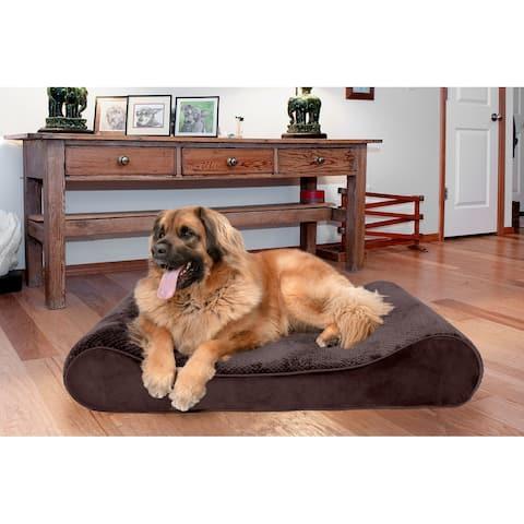 FurHaven Pet Bed Minky Plush & Velvet Luxe Lounger Orthopedic Dog Bed