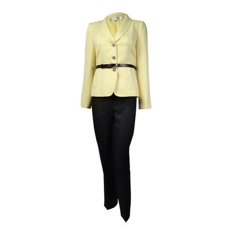 Tahari Women's Belted Shawl Lapel Three Button Pant Suit - Yellow/Black