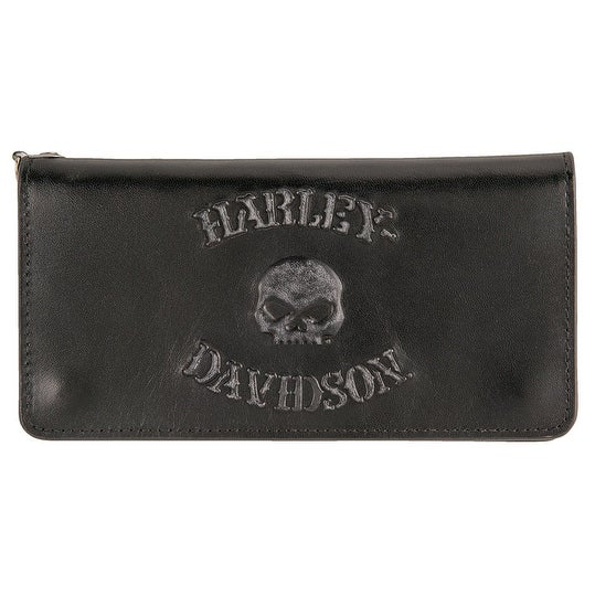 "Harley-Davidson Men's Bad Company Skull Trucker Leather Wallet HDMWA11328-BLK - 7"" x 3.5"""