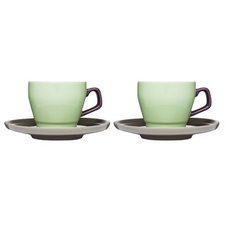 Sagaform POP Stoneware Coffee Cup and Saucer, Green Purple Brown, Set of 2