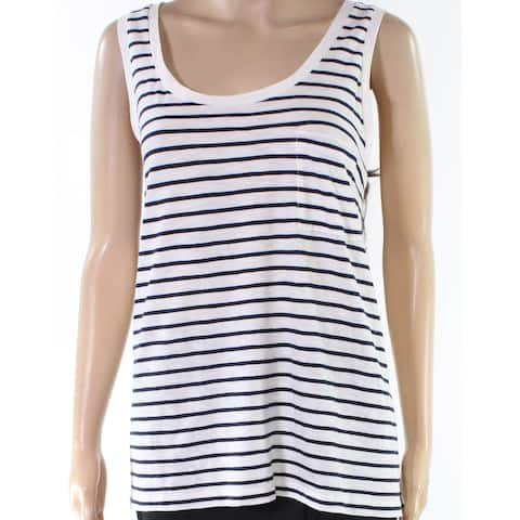 Madewell White Blue Womens Size XL Striped One Pocket Tank Top