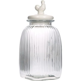 Palais Glassware Preserving Glass Canister Food Jar with Ceramic Lid Handle (Large, Striped Pattern with White Rooster Lid)