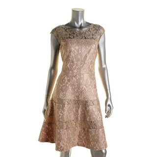 Kay Unger New York Womens Lace Metallic Cocktail Dress
