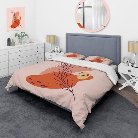 Designart 'Abstract Spring Leaf In Warm Colors' Modern Duvet Cover Set