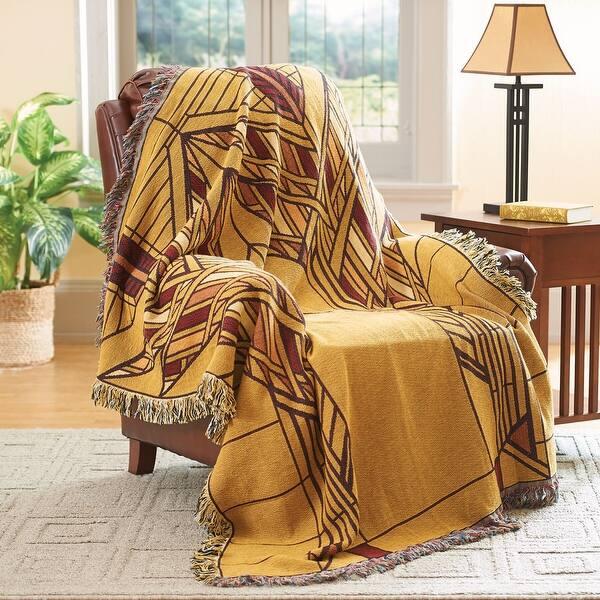Frank Lloyd Wright Throw Blanket Dana House Sumac Window Design 100 Cotton 50 X 70 In