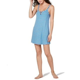 Link to Jenni Women's adder Front Scoop-Neck Chemise Nightgown, Stripe Blue,S Similar Items in Intimates