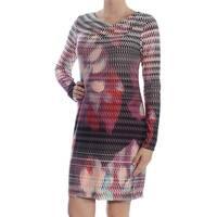 RACHEL ROY Womens Purple Textured Floral Long Sleeve Cowl Neck Above The Knee Sheath Dress  Size: M