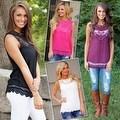 Fashion Women Summer Vest Top Sleeveless Blouse Casual Tank Tops T-Shirt Lace - Thumbnail 10