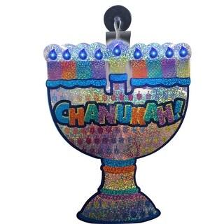"10"" Battery Operated Shiny LED Lighted ""Chanukah!"" Menorah Window Decoration"
