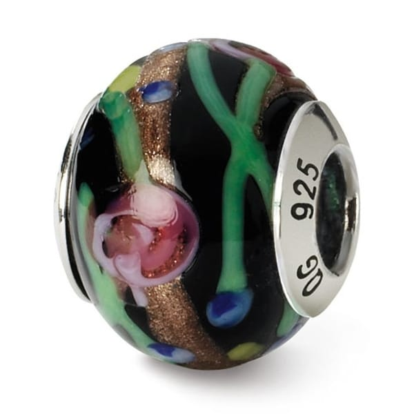 Italian Sterling Silver Reflections Black/Green/Gold/Red Murano Bead (4mm Diameter Hole)