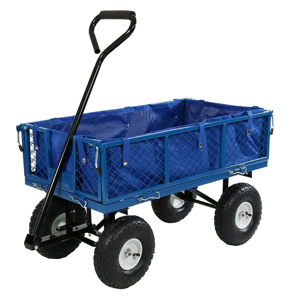 Sunnydaze Utility Cart with Folding Sides and Liner Set - Multiple Colors Available - Thumbnail 35