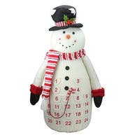 "24.5"" Red and White Plush Snowman Christmas Countdown Table Top Figure"