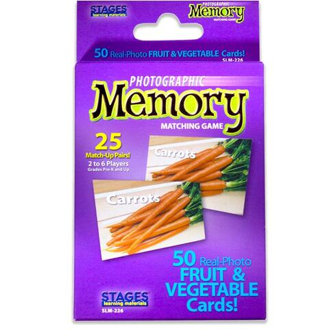 (3 Ea) Fruit & Vegetables Photo Memory Matching Game