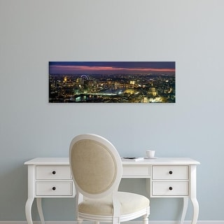 Easy Art Prints Panoramic Image 'High angle view of the city lit up at dusk from Tower 42, London, England' Canvas Art
