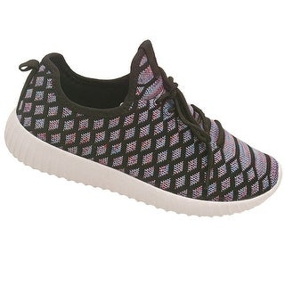 Adult Purple Diamond Tubular Lace Up Construction Knit Sneakers