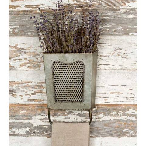 Galvanized Iron Wall Box With Towel Bar, Gray