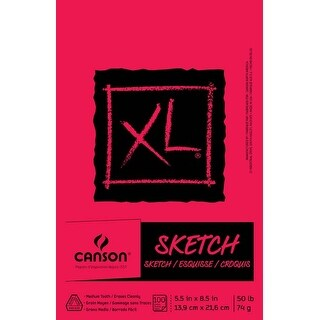 """100 Sheets - Canson Xl Sketch Foldover Pad 5.5""""X8.5"""""""