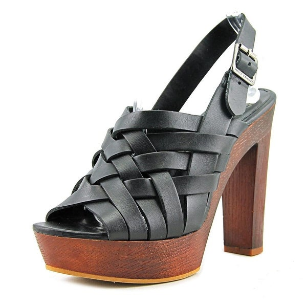 Vince Camuto Elyza Women Peep-Toe Leather Black Slingback Heel