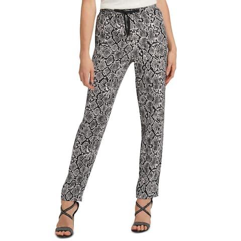 DKNY Women's Snake-Print Drawstring Pants Gray Size Extra Large