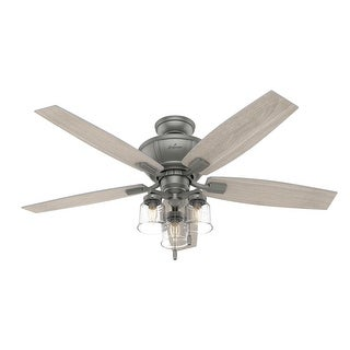 """Link to Hunter 52"""" Charlotte Ceiling Fan with LED Light Kit and Pull Chain - Matte Silver Similar Items in Ceiling Fans"""
