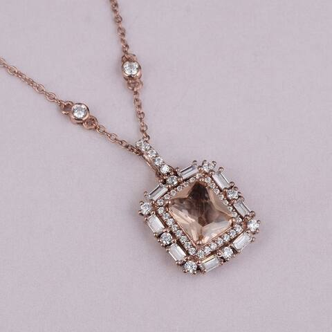 Emerald, Opal, Morganite, Ruby, Cubic Zirconia Sterling Silver Octagon Halo Pendant by Orchid Jewelry