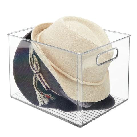 mDesign Plastic Storage Organizer Bin with Handles for Closets - 10 X 8