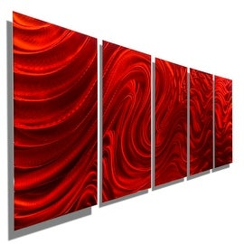 Statements2000 Red 5 Panel Metal Wall Art Painting by Jon Allen - Red Hypnotic Sands