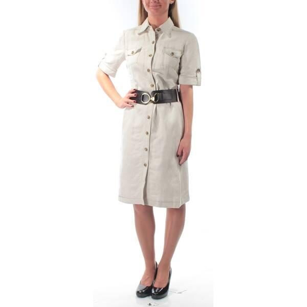 6b437e4e3b Womens Beige Short Sleeve Knee Length Shirt Dress Size  2. Image Gallery
