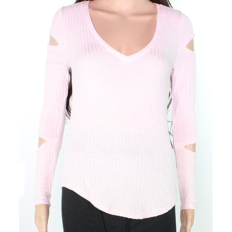 Chaser Women's Sweater Pink Size XS Cutout Sleeve Waffle Knit Pullover