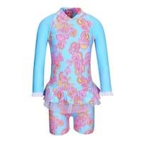 Sun Emporium Baby Girls Pink Blue Sari Paisley Long Sleeve Sun Suit