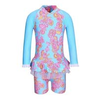 Sun Emporium Baby Girls Pink Blue Sari Paisley Long Sleeve Sun Suit - 12 months