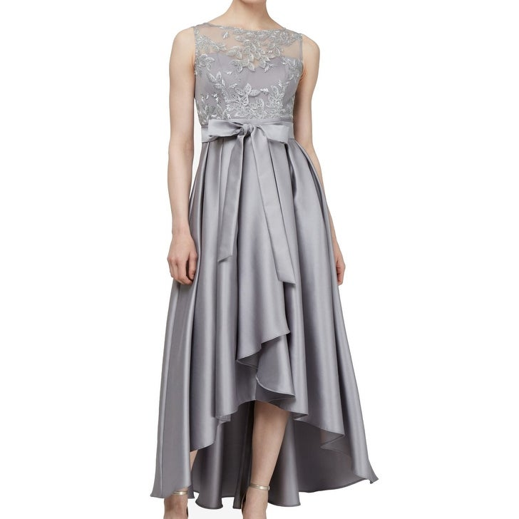 SLNY Womens Dresses Gray Size 6 Gown Embroidered High-Low Pleated