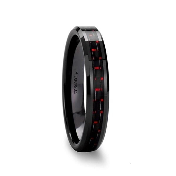 THORSTEN - ANTONIUS Beveled Black Ceramic Ring with Black & Red Carbon Fiber - 4mm