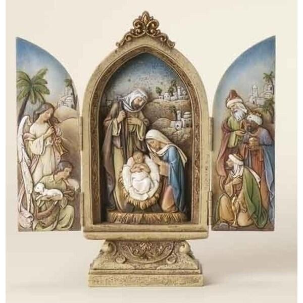 "Pack of 2 Joseph's Studio Religious Christmas Nativity Triptych Decorations 9"""