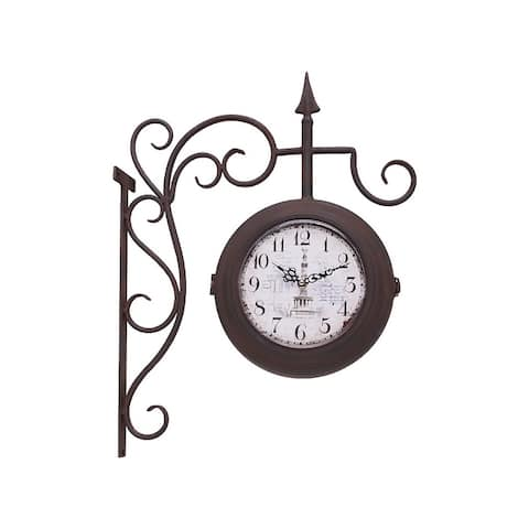 Utopia Alley Dual Sided Train Station Wrought Iron Wall Clock, Vintage Inspired Old World Face, Bronze