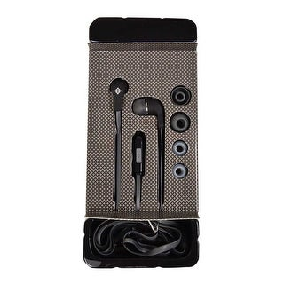 Polaroid Tangle-Free Earbuds With In-Line Mic, Grey/Black